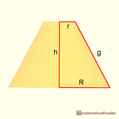 Cones and Conical frustums: height and slant height of a conical frustum (Pythagorean theorem) | matematicasVisuales