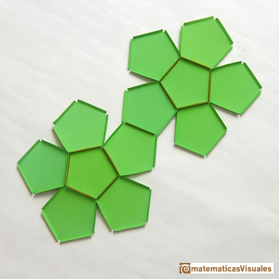 Dodecahedron plane net: Dodecahedron with rubber bands and paper | matematicasVisuales