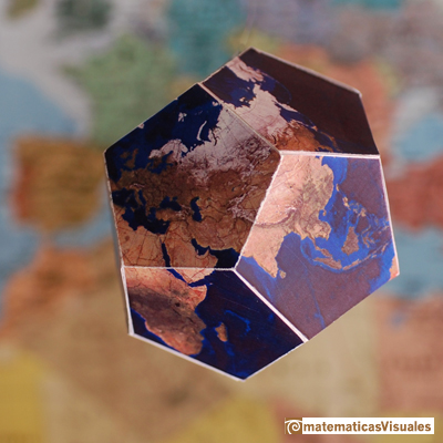 Dodecahedron plane net: plane net of a dodecahedron with a world map, Furuti's page | matematicasVisuales