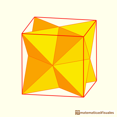 Octahedron plane net: Stella octangula, stellation of an octahedron, inside a cube | matematicasVisuales