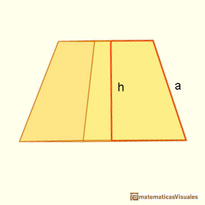 Pyramid and Pyramidal frustum: slant height of a frustum and height. Pythagorean theorem | matematicasVisuales