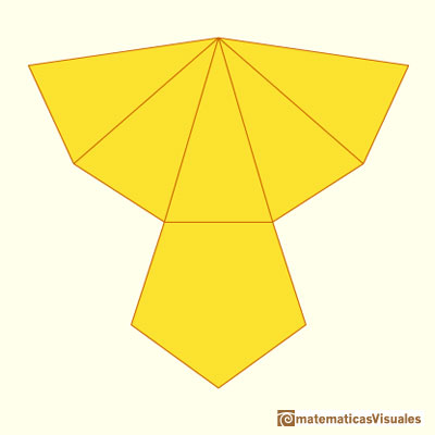 Pyramid and Pyramidal frustum: plane development or net of a pentagonal pyramid | matematicasVisuales