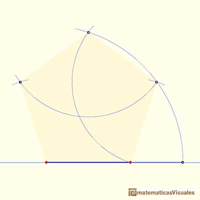 Drawing a regular pentagon with ruler and compass: finishing the pentagon | matematicasVisuales