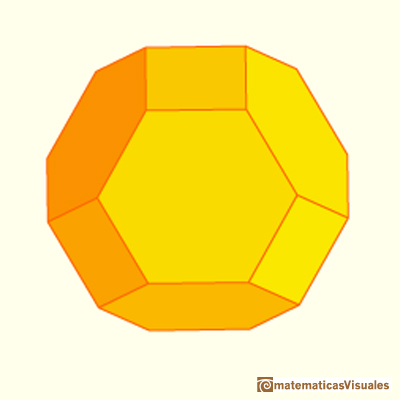 Chamfered cube: it is similar to the truncated octahedron. But the truncated octahedron have twelve hexagons that are regular| matematicasVisuales