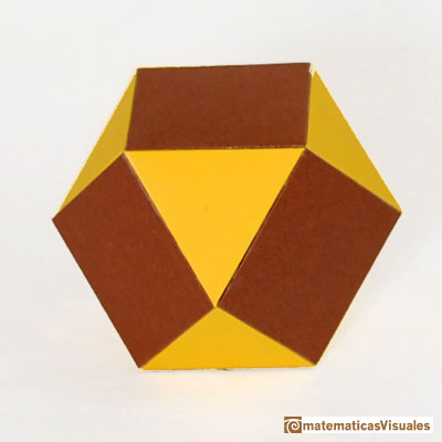 Truncating a cube or an octahedron: cuboctaedro built using cardboard | matematicasvisuales