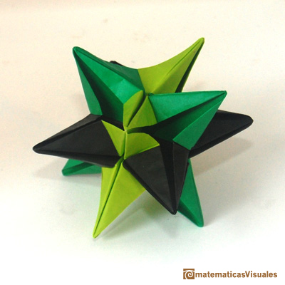 Construcci�n de poliedros con origami modular: Omega Star, modular origami model. Its vertices are the vertices of a cuboctahedron | matematicasvisuales