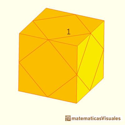Volumen del cuboctaedro: Cuboctaedro en un cubo para ver que la distancia de cada vértice al centro es la misma que la longitud de cada arista| matematicasvisuales