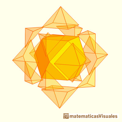 Stellated cuboctahedron: A cuboctahedron inside the cube and octahedron compound | matematicasvisuales