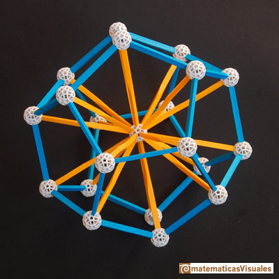 Dodecahedron: radius of the circunscribed sphere, zome model | matematicasVisuales