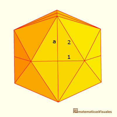 icosahedron: calculating its volume; one face area | matematicasVisuales