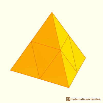 Octahedron: A tetrahedron of edge length 2 is made of one octahedron and four tetrahedra of edge length 1 | matematicasvisuales