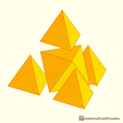 A tetrahedron of edge length 2 is made of one octahedron and four tetrahedra of edge length 1 | matematicasvisuales