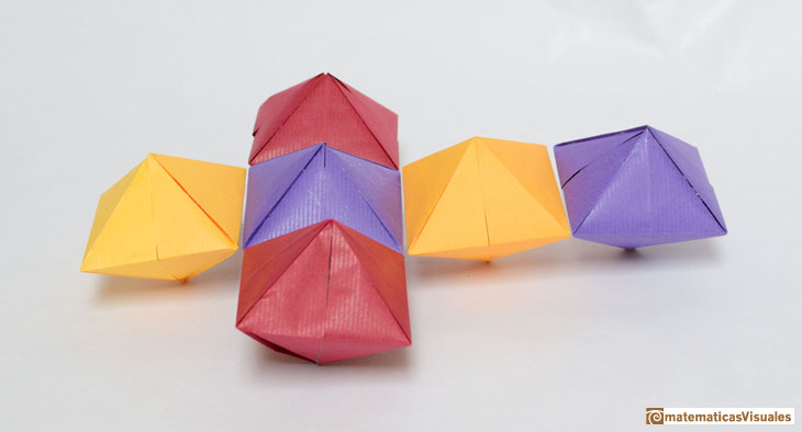 Cube and rhombic dodecahedron, Din A dipyramid, Michael Grodzins | matematicasvisuales