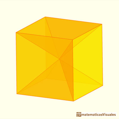 Cube and rhombicdodecahedron are 'reversibles' | matematicasvisuales
