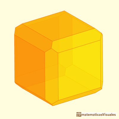 Chamfered cube: chamfering only a little | matematicasVisuales