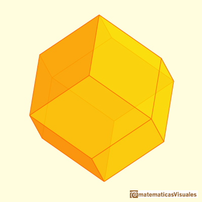 Chamfered cube: rhombic dodecahedron | matematicasVisuales