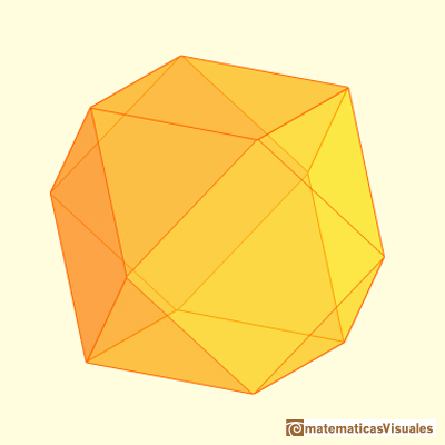 Truncating a cube or an octahedron: cuboctahedron | matematicasvisuales