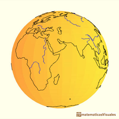 Sphere, the Earth. Perspective cylindrical projection. Axial equal-area projection | matematicasvisuales