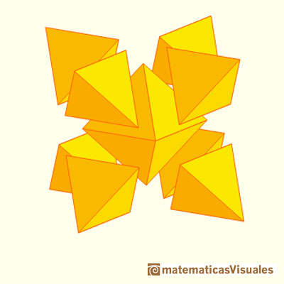 Stellated Octahedron or Stella Octangula: It is an octahedron with 8 tetrahedra | matematicasvisuales