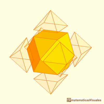 Truncated cube and octahedron: cuboctahedron, octahedron truncation | matematicasvisuales
