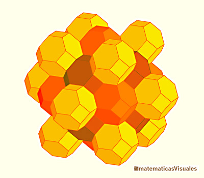 The truncated octahedron is an archimedean solid that tesselate the space | matematicasVisuales