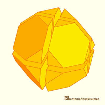 Truncated octahedron made by eight half cubes | matematicasvisuales