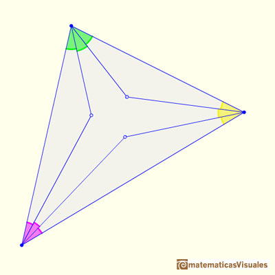 Morley Theorem: We consider the three points of intersection of the adjacent trisectors | matematicasVisuales