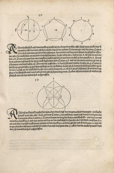 Durer drawing of a non-regular pentagon:  Durer's Underweysung der Messung page with the drawing of two pentagons | matematicasVisuales