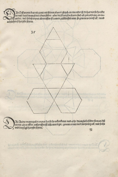 Construcción de poliedros con cartulina cara a cara pegadas: Tetraedro truncado, Durer was the first to publish a plane net of a Tetraedro truncado | matematicasVisuales