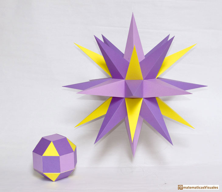Augmented Rombicuboctahedron, cardboard model | matematicasVisuales
